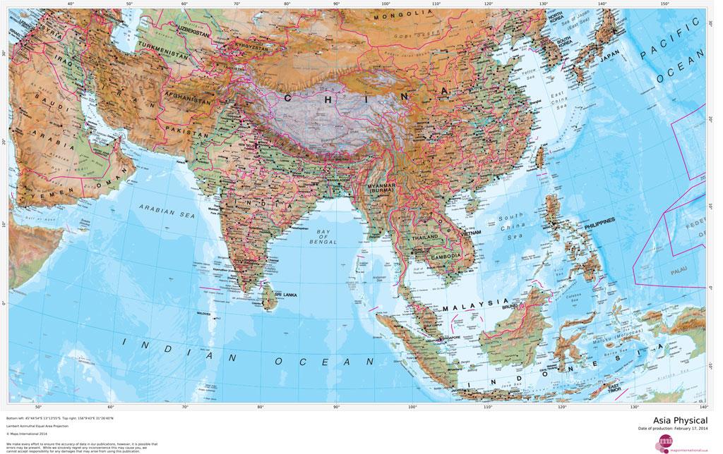 Image of: Maps International Asia Physical Mapsherpa